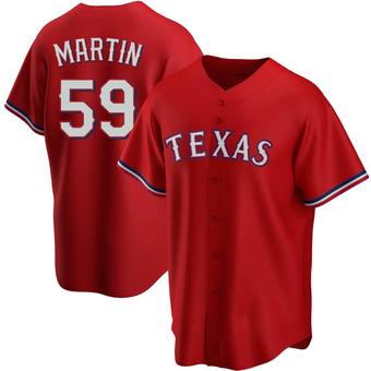 Men's Brett Martin Texas Red Replica Alternate Baseball Jersey (Unsigned No Brands/Logos)