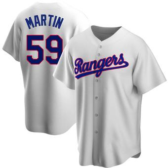 Men's Brett Martin Texas White Replica Home Cooperstown Collection Baseball Jersey (Unsigned No Brands/Logos)