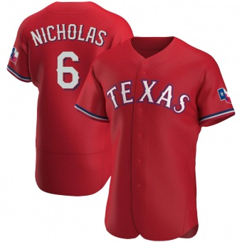 Men's Brett Nicholas Texas Red Authentic Alternate Baseball Jersey (Unsigned No Brands/Logos)