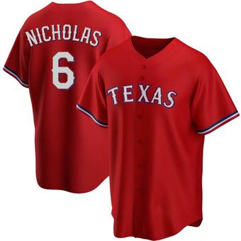 Men's Brett Nicholas Texas Red Replica Alternate Baseball Jersey (Unsigned No Brands/Logos)