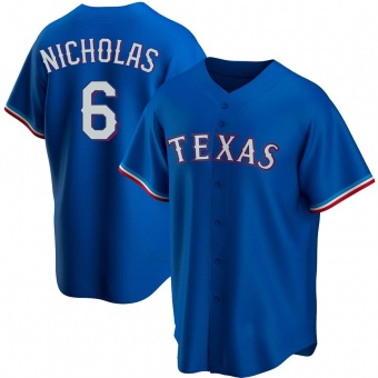 Men's Brett Nicholas Texas Royal Replica Alternate Baseball Jersey (Unsigned No Brands/Logos)
