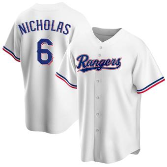 Men's Brett Nicholas Texas White Replica Home Baseball Jersey (Unsigned No Brands/Logos)