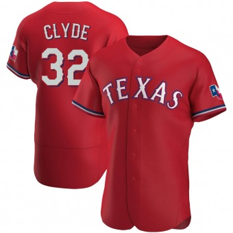 Men's David Clyde Texas Red Authentic Alternate Baseball Jersey (Unsigned No Brands/Logos)