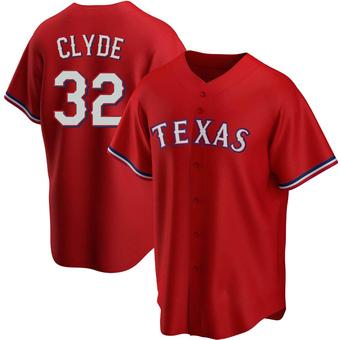 Men's David Clyde Texas Red Replica Alternate Baseball Jersey (Unsigned No Brands/Logos)
