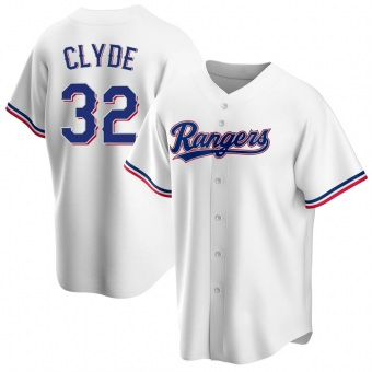 Men's David Clyde Texas White Replica Home Baseball Jersey (Unsigned No Brands/Logos)