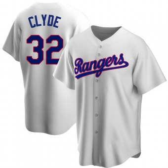 Men's David Clyde Texas White Replica Home Cooperstown Collection Baseball Jersey (Unsigned No Brands/Logos)