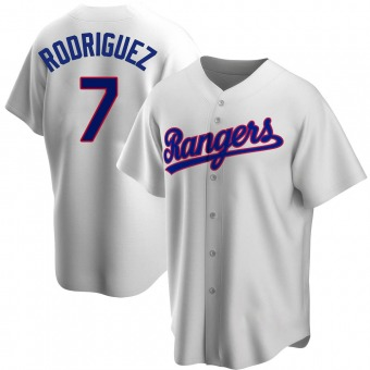 Men's Ivan Rodriguez Texas White Replica Home Cooperstown Collection Baseball Jersey (Unsigned No Brands/Logos)