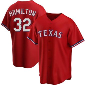 Men's Josh Hamilton Texas Red Replica Alternate Baseball Jersey (Unsigned No Brands/Logos)
