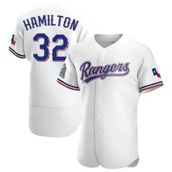 Men's Josh Hamilton Texas White Authentic Home Baseball Jersey (Unsigned No Brands/Logos)