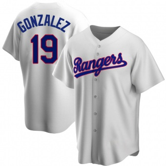 Men's Juan Gonzalez Texas White Replica Home Cooperstown Collection Baseball Jersey (Unsigned No Brands/Logos)