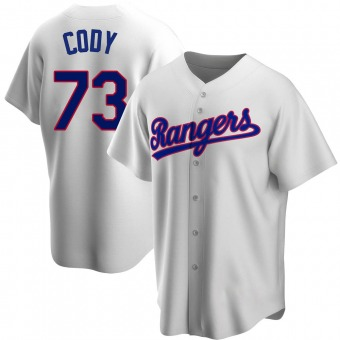 Men's Kyle Cody Texas White Replica Home Cooperstown Collection Baseball Jersey (Unsigned No Brands/Logos)