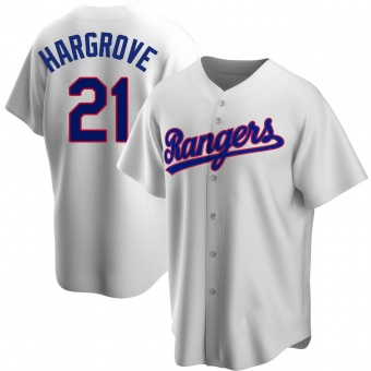 Men's Mike Hargrove Texas White Replica Home Cooperstown Collection Baseball Jersey (Unsigned No Brands/Logos)