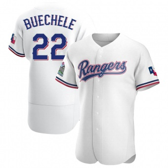Men's Steve Buechele Texas White Authentic Home Baseball Jersey (Unsigned No Brands/Logos)