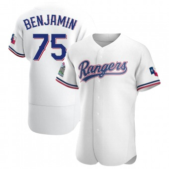 Men's Wes Benjamin Texas White Authentic Home Baseball Jersey (Unsigned No Brands/Logos)