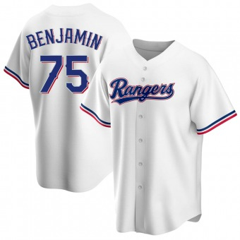 Men's Wes Benjamin Texas White Replica Home Baseball Jersey (Unsigned No Brands/Logos)