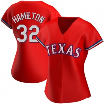 Women's Josh Hamilton Texas Red Authentic Alternate Baseball Jersey (Unsigned No Brands/Logos)