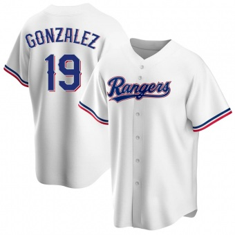 Youth Juan Gonzalez Texas White Replica Home Baseball Jersey (Unsigned No Brands/Logos)