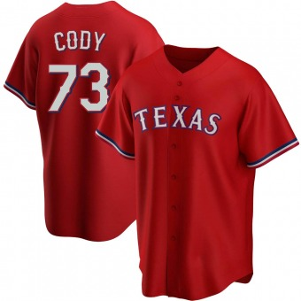 Youth Kyle Cody Texas Red Replica Alternate Baseball Jersey (Unsigned No Brands/Logos)