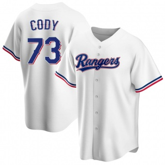 Youth Kyle Cody Texas White Replica Home Baseball Jersey (Unsigned No Brands/Logos)