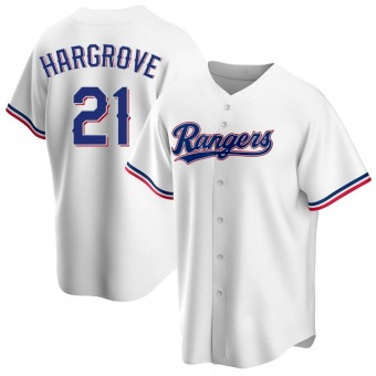 Youth Mike Hargrove Texas White Replica Home Baseball Jersey (Unsigned No Brands/Logos)