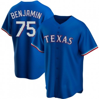 Youth Wes Benjamin Texas Royal Replica Alternate Baseball Jersey (Unsigned No Brands/Logos)